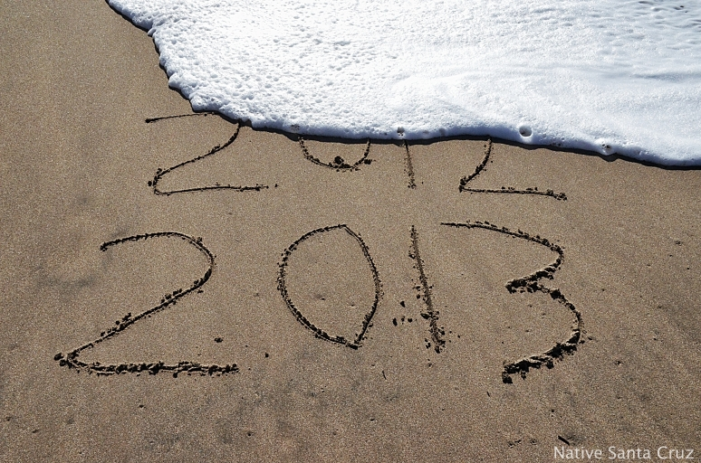 The waters of the Monterey Bay does away with 2012 on a beautiful New year's day in Santa Cruz.