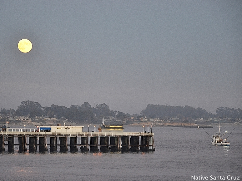 Full Moon over Wharf and Fishing Boat